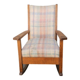 Antique Arts & Crafts Mission Tiger Oak Rocking Chair For Sale