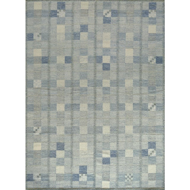 Textile Hand-Woven Swedish Kilim Style Wool Rug For Sale - Image 7 of 7