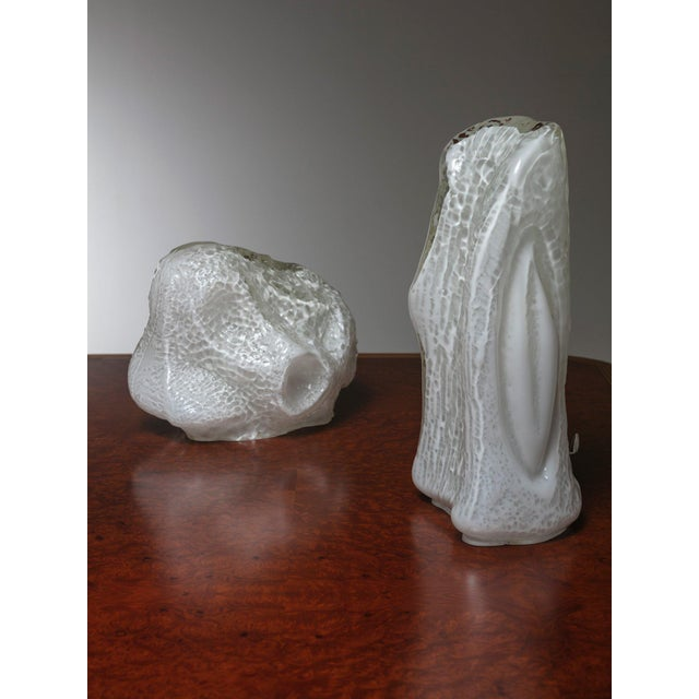 """Modern Pair of """"Osso"""" Murano Glass Table Lamps by Mazzega For Sale - Image 3 of 7"""