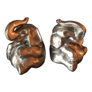 Brass Trunks Up Elephant Bookends - a Pair For Sale
