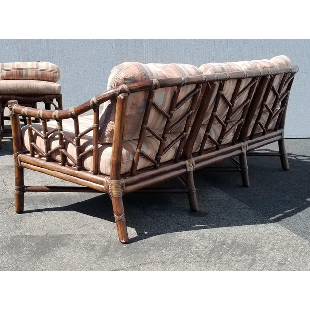 Vintage McGuire Furniture Company Rattan Sofa With Leather Rawhide Ties For Sale - Image 10 of 13