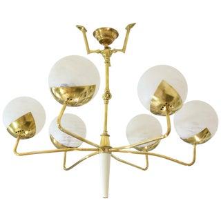 Mid 20th Century Italian Articulating Brass Spider Chandelier For Sale