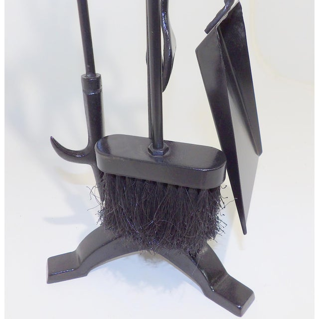 Mid 20th Century Vintage Wrought Iron Fireplace Tool Set For Sale - Image 5 of 6