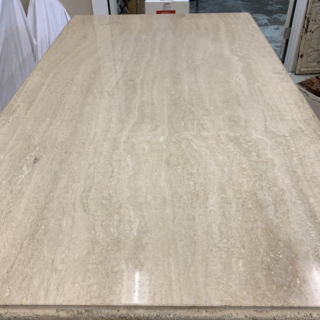 Stone International Italian Travertine Marble Dining Table For Sale - Image 4 of 13