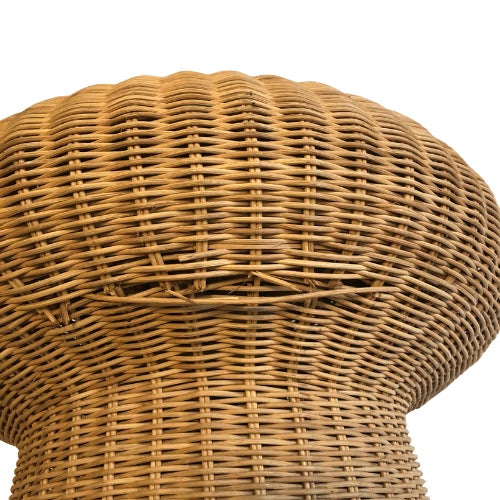 Mid-Century Modern 1960s Eero Aarnio Mushroom Style Wicker Ottomans - a Pair For Sale - Image 3 of 6