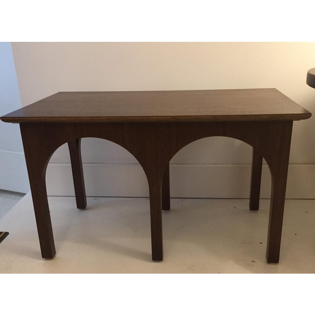 Beautifully refinished walnut Side Table / Coffee Table Mid Century Coliseum Style. Rare piece.