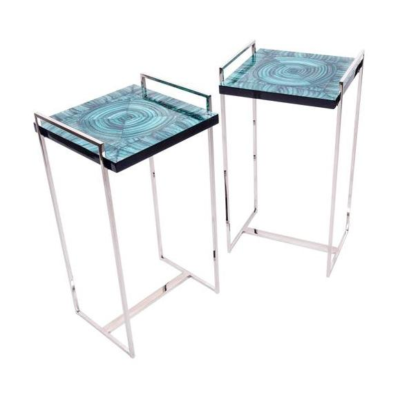 Faux Malachite Tables - Pair - Image 1 of 4