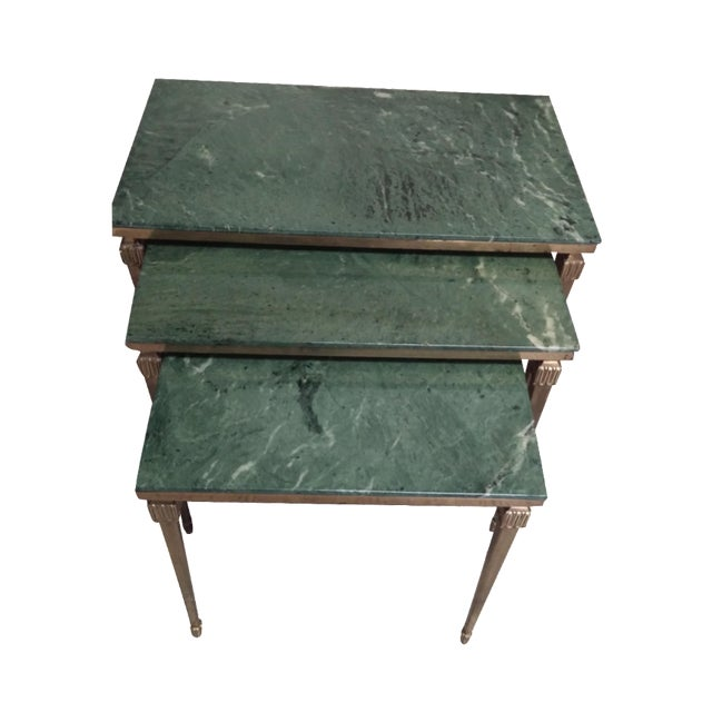 French Brass/Bronze Marble Top Nesting Tables- S/3 For Sale