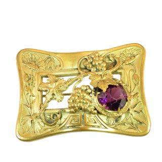 Victorian Amethyst Crystal Grape Motif Sash Brooch 1880s For Sale