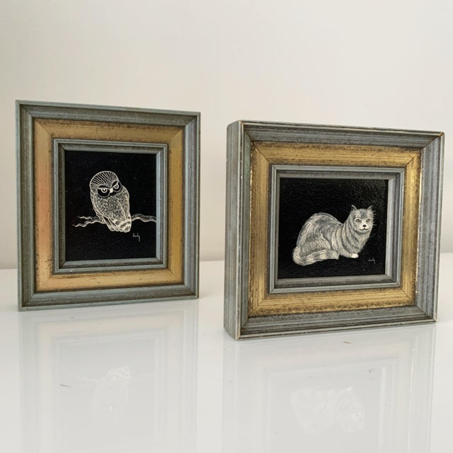 Meow & Hoot Hoot! Cozy, adorable petite original scratch art paintings of cat and owl. Frame consists of distressed light...