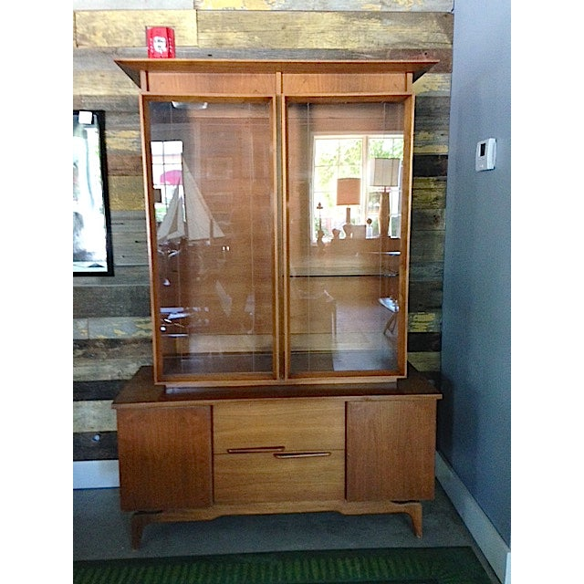 Mid-Century Etched Doors Teak Hutch Cabinet - Image 2 of 10