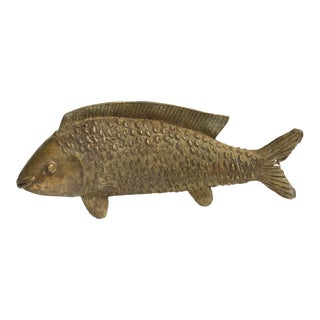 Large Bass Fish Standing Vintage African Bronze Sculpture For Sale