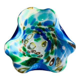1950s Murano Art Glass Bowl With Gold Flakes Italian Mid-Century Modern For Sale