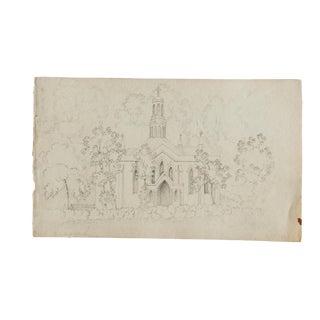 Antique Sketch Church Wellington Somerset For Sale