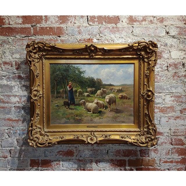 Cornelius Van Leemputten-Flock of Sheeps-Beautiful 19th C. Oil Painting For Sale - Image 10 of 10