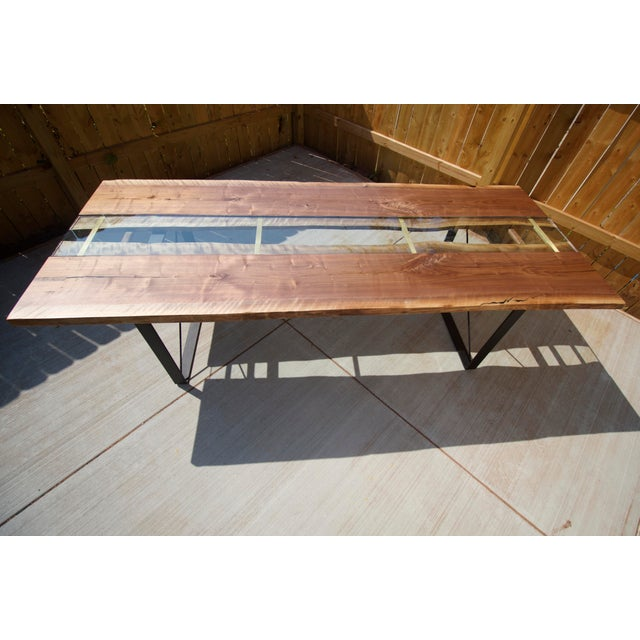 Claro Walnut Slab Dining Table With Solid Brass Inlays + Glass River Center Display For Sale - Image 4 of 11