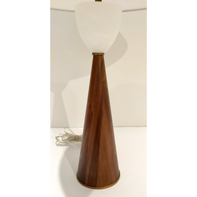 Mid-Century Modern Arteriors Mid-Century Modern Style Walnut and Marble Stanford Table Lamp For Sale - Image 3 of 6