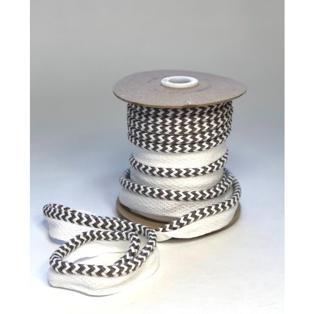 "Braided 1/4"" Indoor/Outdoor Cord in White/Gray For Sale - Image 9 of 9"