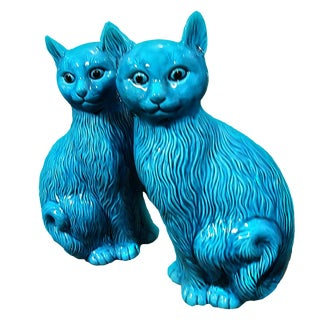 Large Warhol Style Blue Turquoise Ceramic Cat Figurines - a Pair For Sale