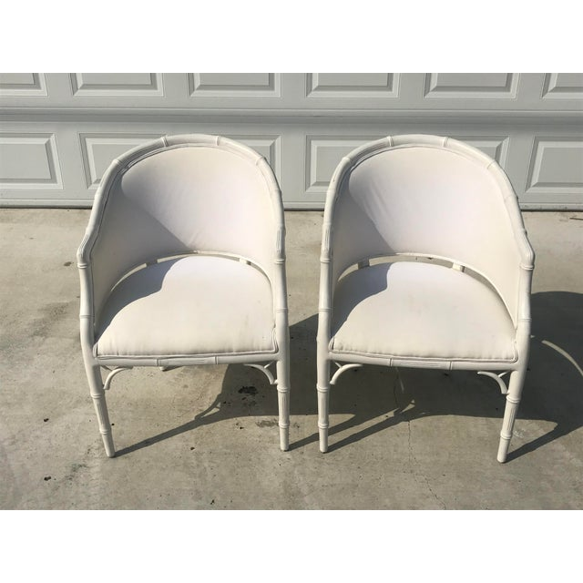 1970s Vintage Faux Bamboo Upholstered Chairs - a Pair For Sale - Image 11 of 12