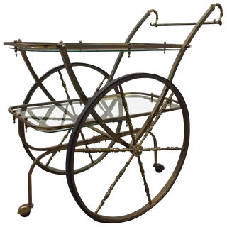 French Two-Tier Brass Bar Cart For Sale