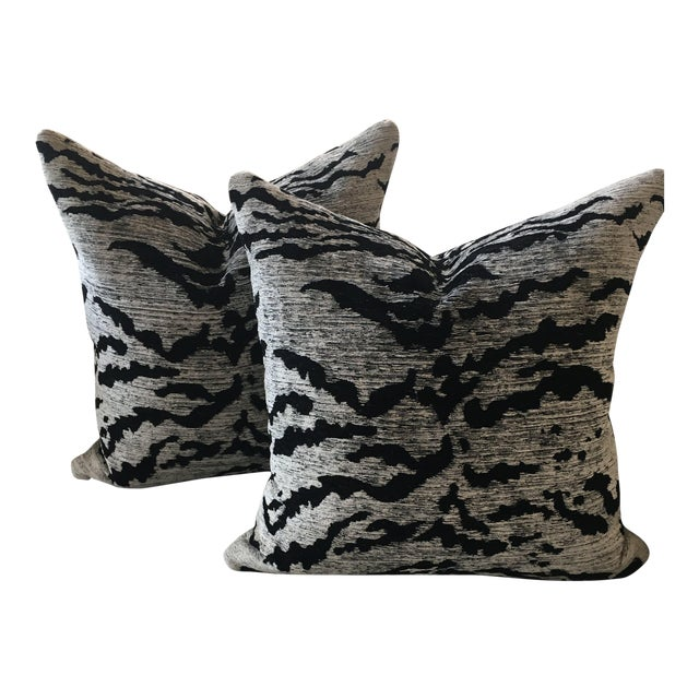 Schumacher Black & White Tiger Pillows - a Pair For Sale