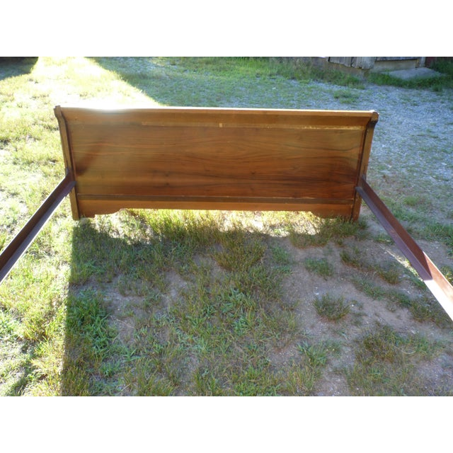 Vintage Art Deco Walnut Full Double Waterfall Bed For Sale - Image 11 of 12