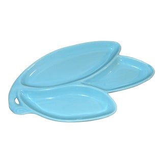 1950s Contemporary Turquoise Pottery Nut Dish For Sale