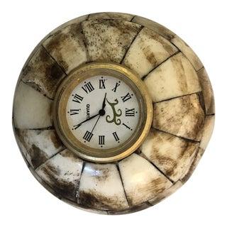 Camel Bone Round Desk Clock For Sale