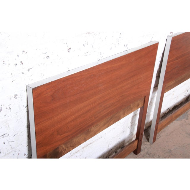 1950s Paul McCobb for Calvin Mid-Century Modern Walnut Twin Headboards - a Pair For Sale - Image 5 of 8