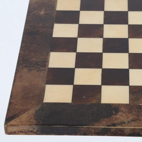 1950s 1950S ALDO TURA GOATSKIN GAMES TABLE WITH BRASS BASE For Sale - Image 5 of 10