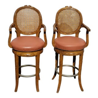 Pair Vintage French Country Orange Coral Leather Cane Swivel Barstools Bar Stool For Sale