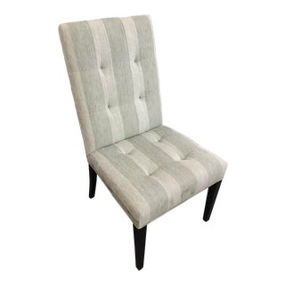 Robert Allen Green Stripe Tufted Chair For Sale