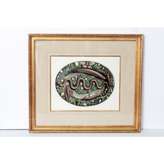 Paper Set of Six (6) Hand-Colored Palissy Ware Lithographs by Rose-Joseph Lemercier For Sale - Image 7 of 10