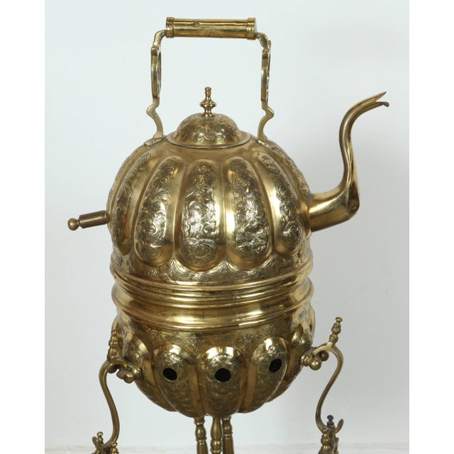 Mid 20th Century Moroccan Brass Kettle on Stand Handcrafted in Fez Morocco For Sale - Image 5 of 11