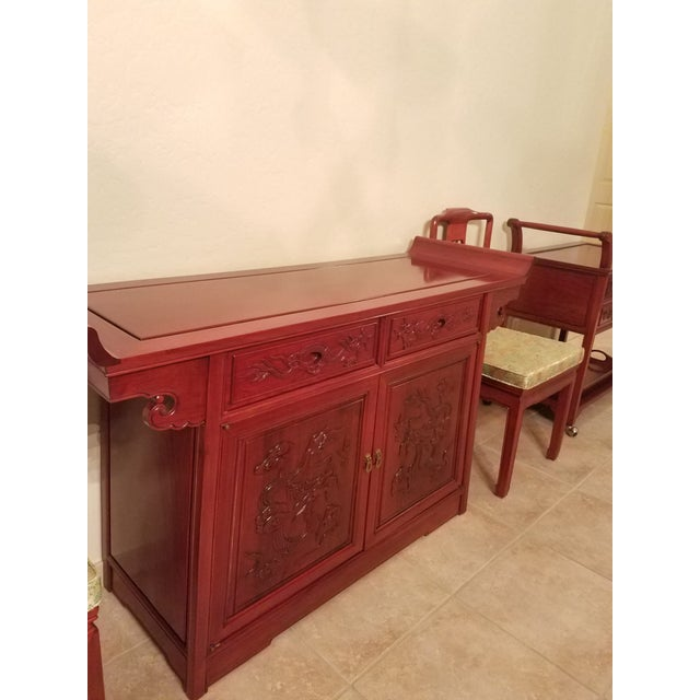 Vintage Chinese Rosewood Imperial Dragon Credenza For Sale In Phoenix - Image 6 of 7