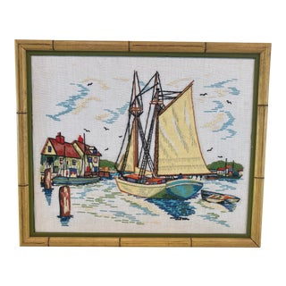 Vintage Costal Artwork With Back Stitching in Original Bamboo Frame For Sale