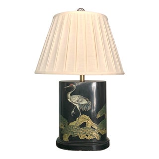 1950s Chinoiserie Black Lacquer Oval Lamp With Gilt Phoenix Design For Sale