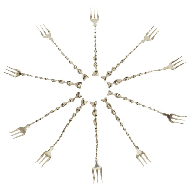"Set of Ten Hallmarked Sterling Silver ""Twist and Ball"" Cocktail or Serving Forks For Sale"