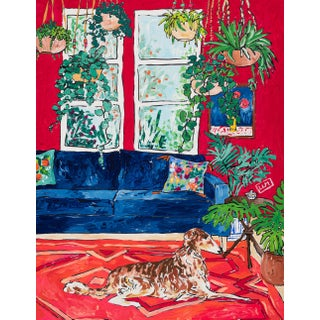 Red Interior With House Plants and Borzoi Dog After Matisse Painting by Lara Meintjes For Sale