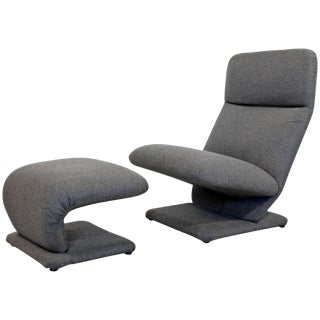 1970s Mid-Century Modern Baughman for Dia Cantilever Lounge Chair and Ottoman For Sale