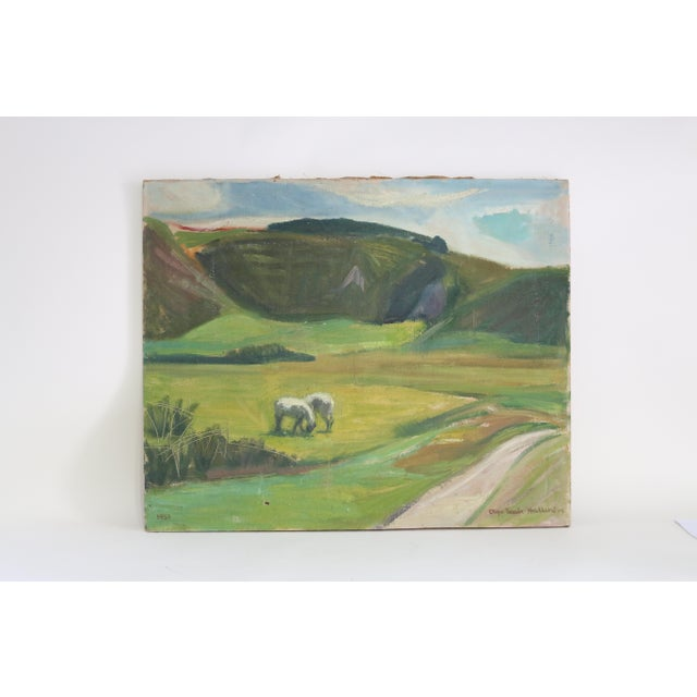 Lovely abstract landscape in the primitive style depicting rolling hills and a pair of horses in a field. Oil on canvas...