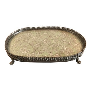 Large Brass and Porcelain Claw-Footed Decorative Tray For Sale