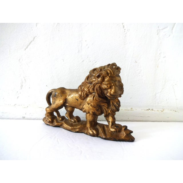 Antique Gilt-Painted Cast-Iron Lion Doorstop For Sale - Image 4 of 8
