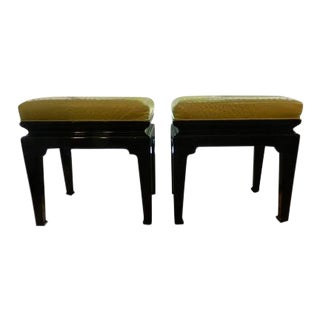 Vintage Chinese Style Lacquered Stools With Genuine Ostrich Skin - A Pair