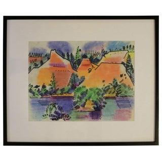 Pastel Landscape by Erle Loran #1 For Sale