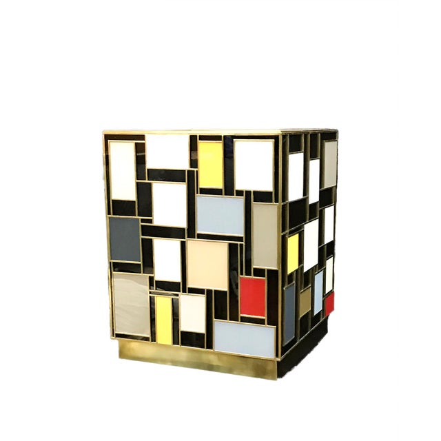Abstract Mondrian Glass Side Table by MarGian Studio For Sale - Image 3 of 5