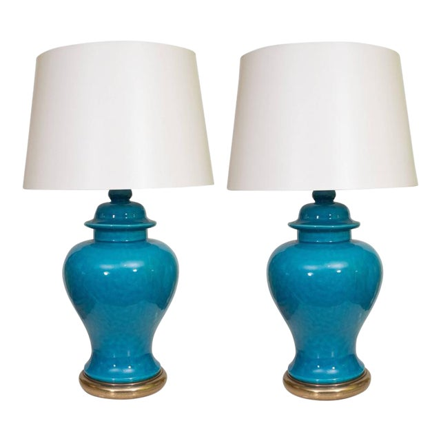 Pair of Mid-Century Ceramic Blue Lamps For Sale