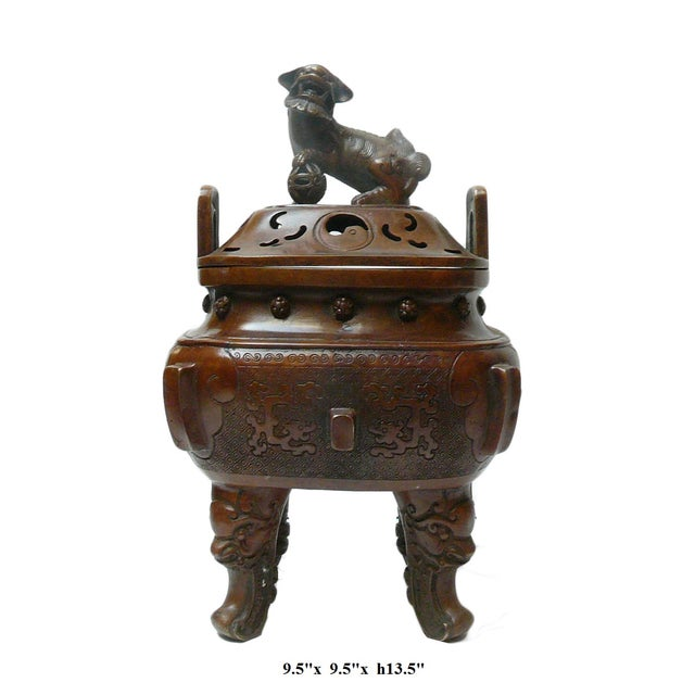 Chinese Metal Handcrafted Ding Incense Burner For Sale - Image 7 of 7