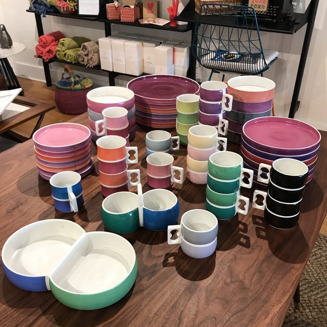 Vintage Chromatics by Block 50 Piece Set in Assorted Colors. Designed by Gerald Gulotta. Made in Germany 1970s. BOWLS (8)...